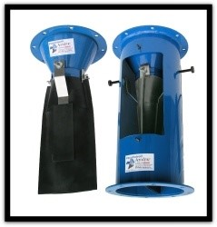Blue air lock Vacu-Valve for dust collectors in industrial applications