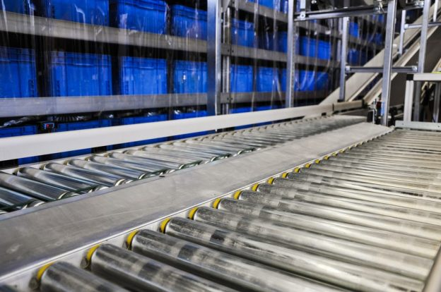 A close-up of the surface of a conveyor belt.